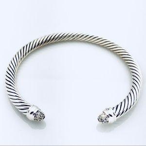 David Yurman Silver Bracelet with Diamond Domes